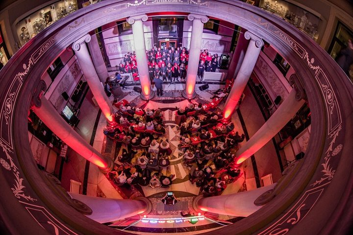 An aerial view of the performance at Harris Live Pic: Michael Porter/Preston Photographic Society