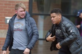 Two of the gang Jonathan Sowerby and Dale Grant pictured outside Teesside Crown Court