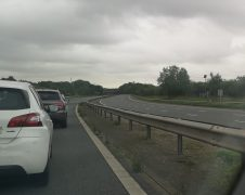 An empty M61 and traffic being held