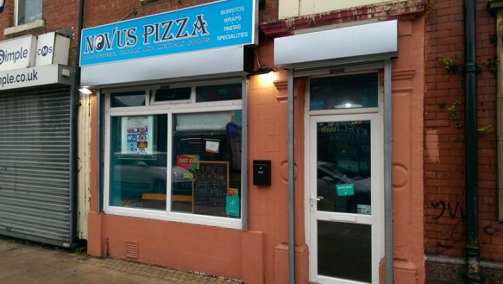 Outside the Novus Pizza takeaway in New Hall Lane Pic: Blog Preston