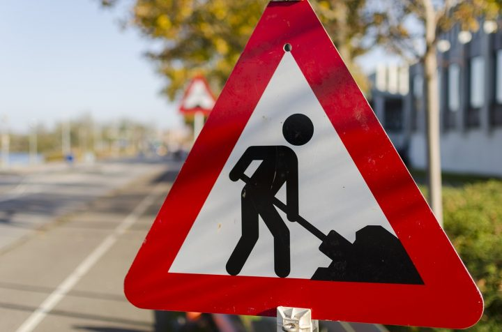 Roadworks signs have gone up along Preston Road in Grimsargh and into Longridge Pic: EsbenS
