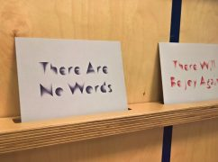 Postcards put up in the grief shop Pic: Garry Cook