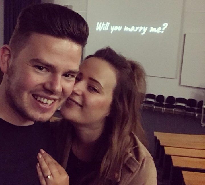 Tom Marshall-Bailey and Katie Dyson after the proposal
