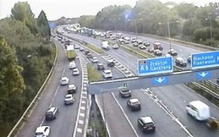 The scene at the M55/M6 junction shortly before 5.30pm on Tuesday Pic: Motorway Traffic Cameras