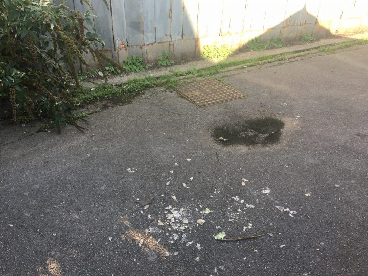 Smashed glass and items found near the building Pic: Blog Preston