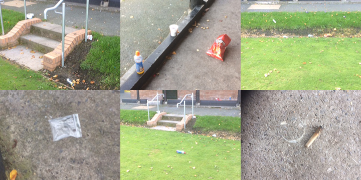 Some of the litter found outside Rosemary on the Park