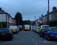 Police presence in Browning Road during Tuesday morning Pic: Jimmy Fisher