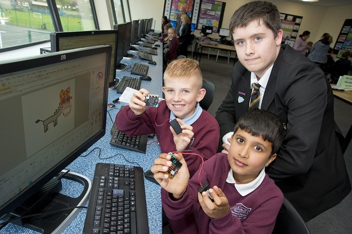 L-R Primary school pupils Oliver Lanka, Jake Stulberg and Y10 Connor Speirs, a Priory pupil ambassador