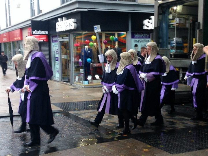 Judges making their way through Preston city centre
