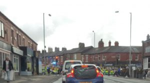 Scene at Lane Ends with emergency services response Scene at Lane Ends with emergency services response