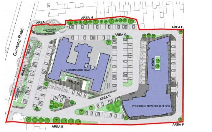 This shows the scale of the new building within the current site and in relation to Garstang Road