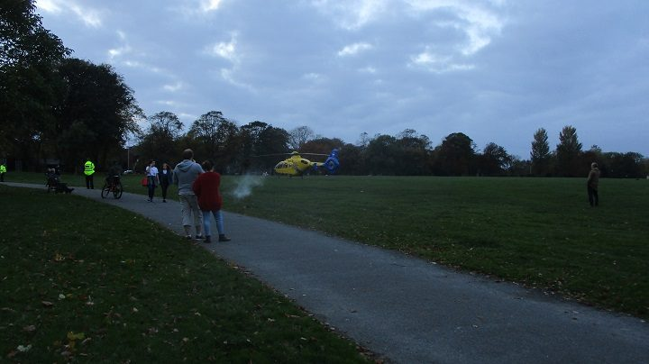 Air ambulance in Moor Park on Friday evening
