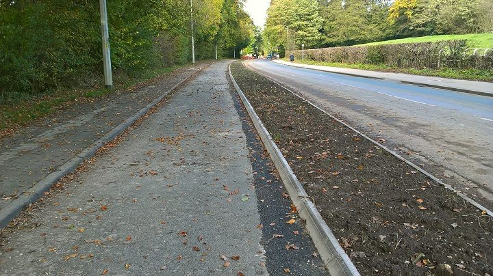 The new cycle lane in Broughton