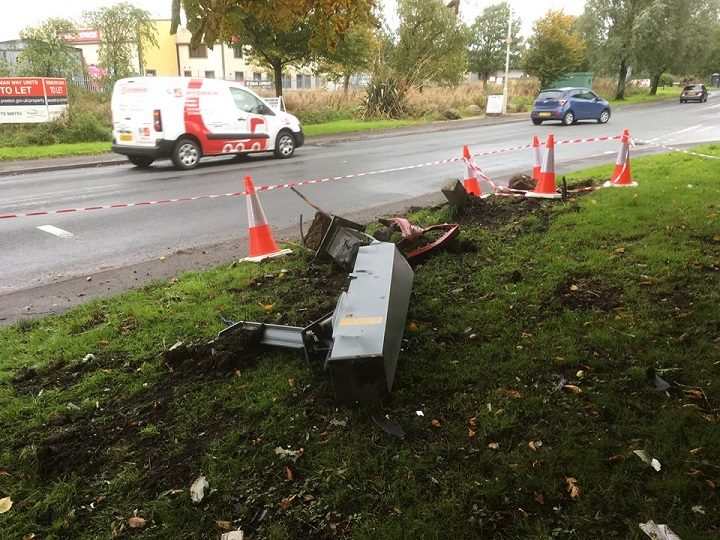 What remains of the speed camera in Longridge Road Pic: Stephen Melling