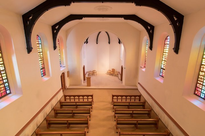 Inside the chapel within the care home