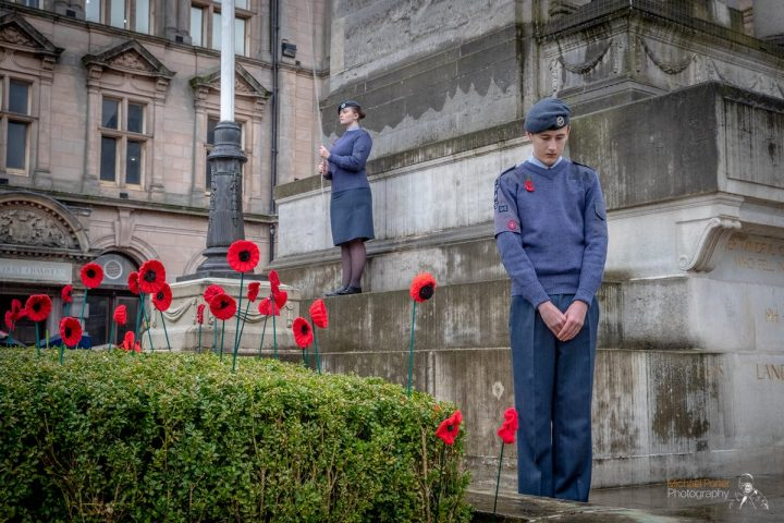 Marking Remembrance Sunday at the Cenotaph Pic: Michael Porter