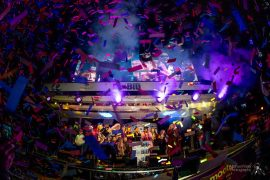 Confetti shower at the lights switch on Pic: Michael Porter