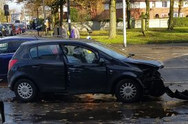 One of the vehicles involved in the crash at the junction with Ribbleton Lane