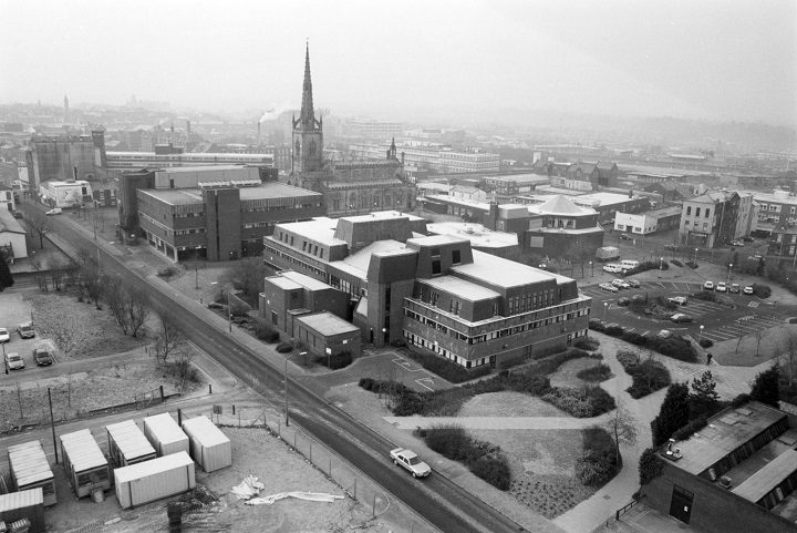 A view of the UCLan campus during the building of the Harrington building