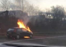 The car on fire on the hard shoulder Pic: Andrew Hodgson