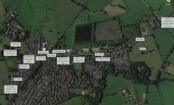 Where the Grimsargh site is for the new homes
