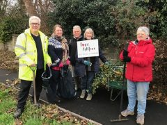 The Love Ashton group working hard to clean up the area