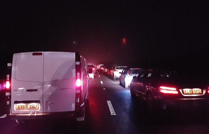 Queues on the M55 following the crash