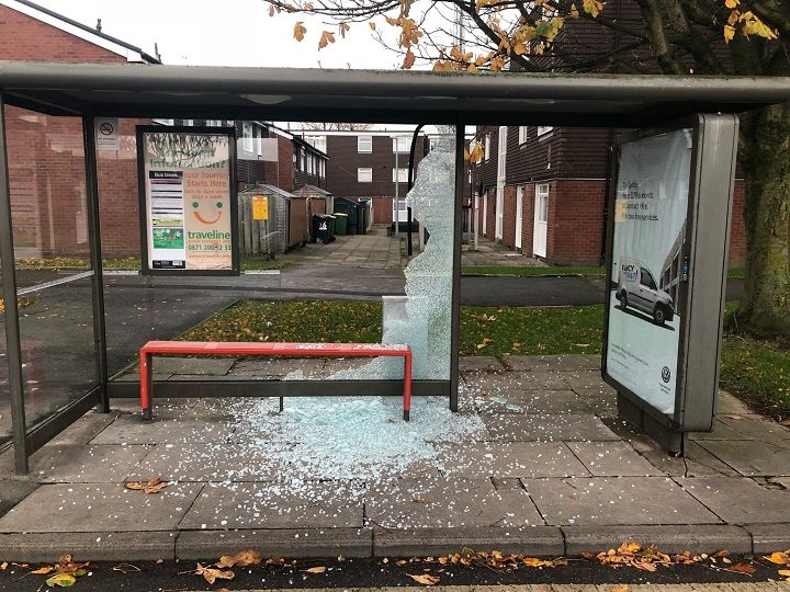 One of the bus stops in North Road/Lancaster Road which was targeted