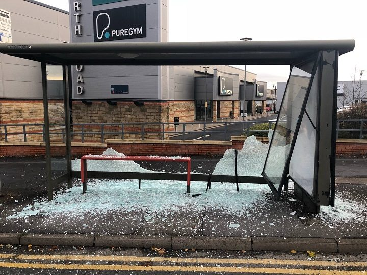 One of the bus stops had structural damage where an advertising hoarding had been pulled away from its support