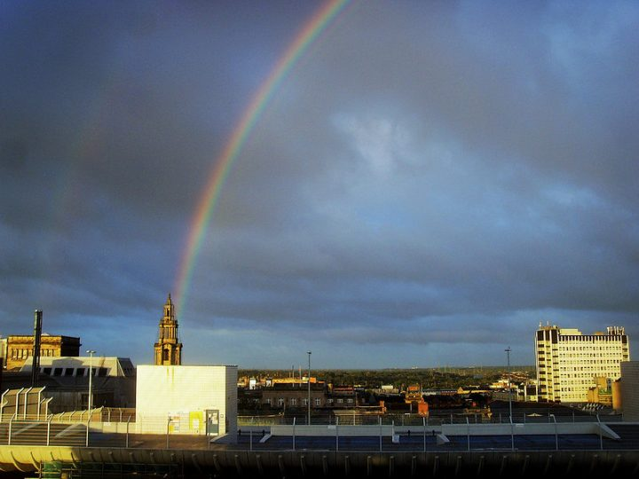 A rainbow over Preston city centre Pic: Tony Worrall