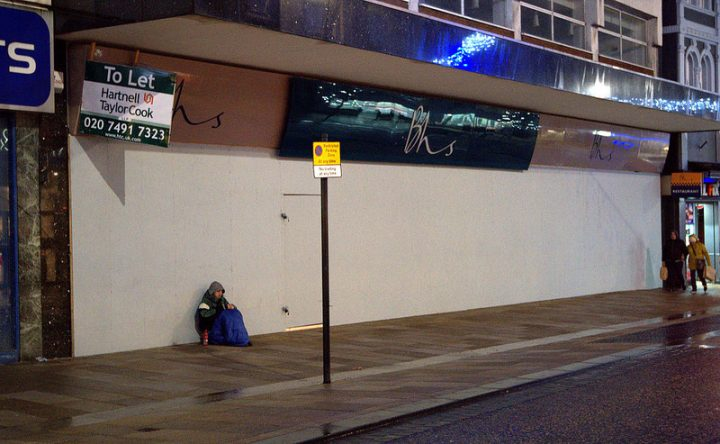 The entrance to BHS boarded up on a December evening Pic: Tony Worrall