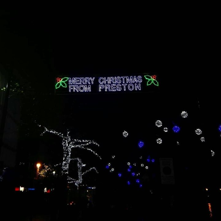 The Merry Christmas decorations in Preston Pic: John Hickey