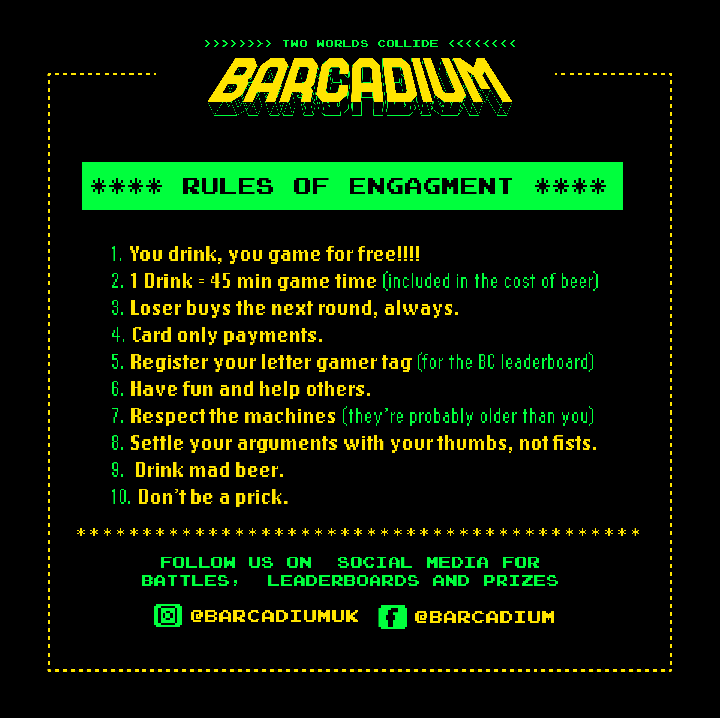 Barcadium Rules of Engagement