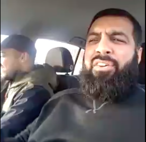 The video shows the man going on a hate-filled rant while driving through Preston