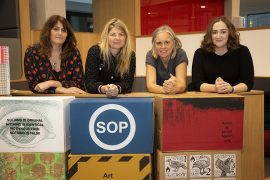Noelle Noonan and Catherine Hehir, organisers of the State of Print exhibition, Tracy Hill, Research Associate from Artlab Contemporary print studios at UCLan and UCLan printmaking technician Kathryn Poole