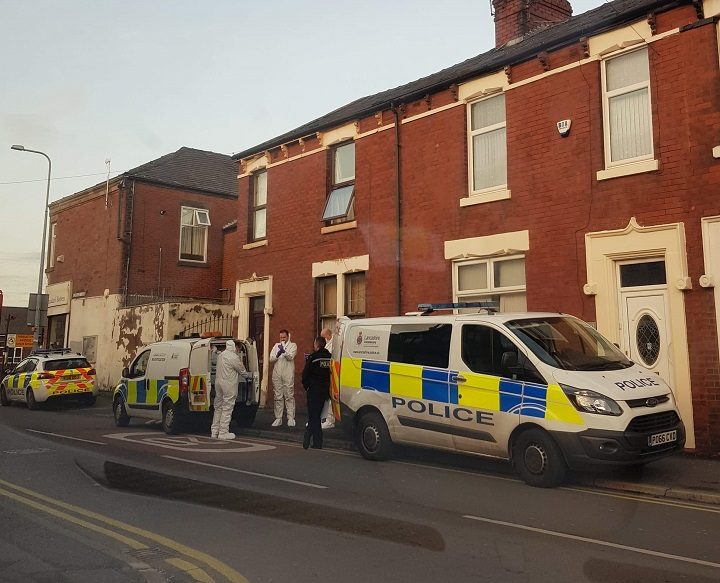 Forensic officers at the scene in Acregate Lane Pic: Blog Preston