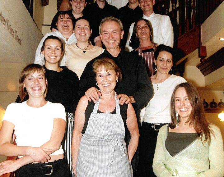 The Alpenhof team on one of the restaurant's final nights, Catrina King is second row, far left