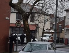 Armed police seen in Blackpool Road on Christmas Day Pic: Andy Spearitt