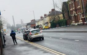 The police cordon in Blackpool Road Pic: Plungington Labour