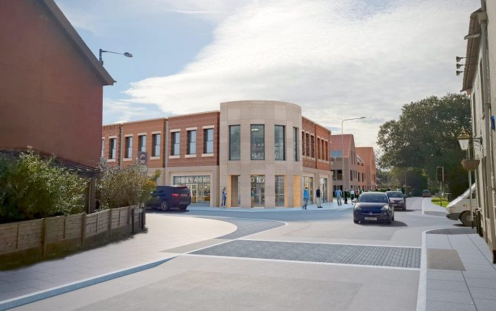 A new artist impression of how the development at the Broughton crossroads may look