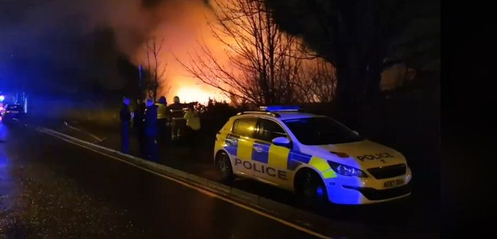Police presence at the fire in Deepdale