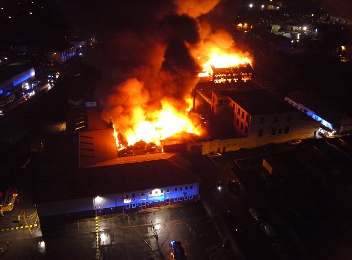 The picture from the fire service's drone shows what firefighters faced Pic: Chris Rainford/LFRS