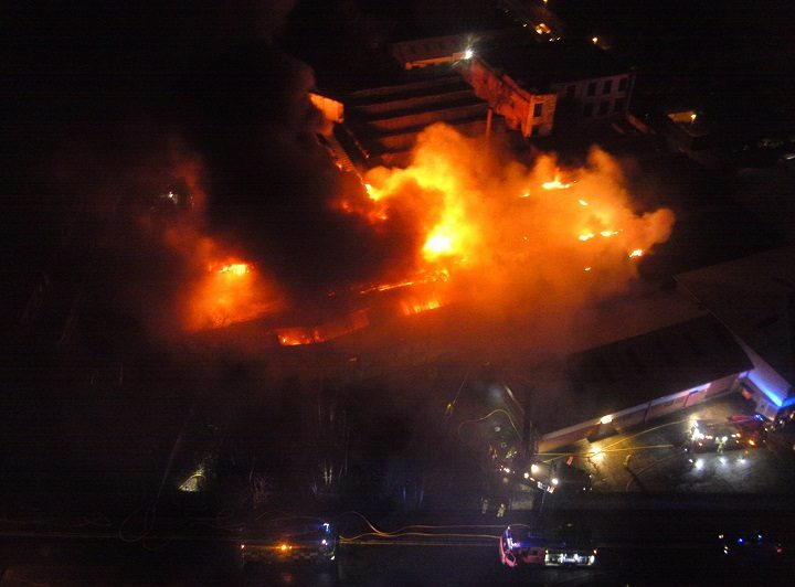 Another view of the inferno from above Pic: Chris Rainford/LFRS