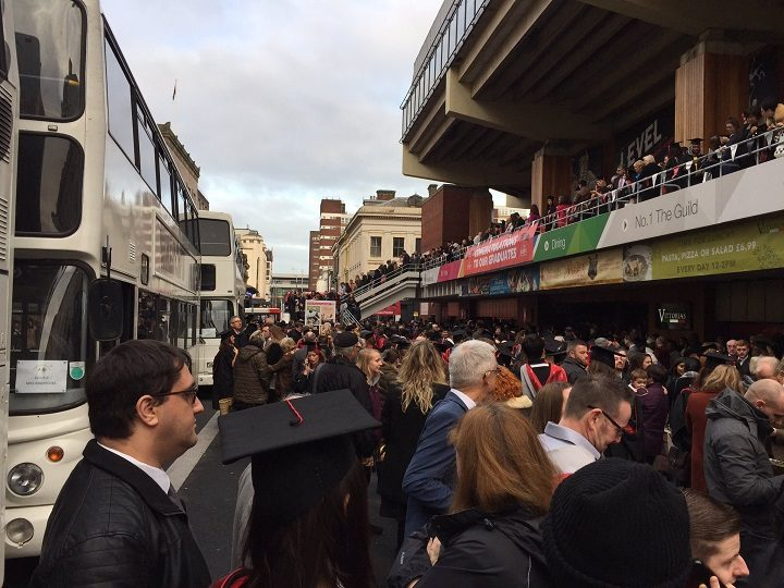 The crowds outside the Guild Hall during the graduation ceremonies Pic: Russell Hogarth