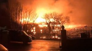 Flames leap into the night's sky as fire ravaged commercial units in Deepdale Pic: Imtiaz Master