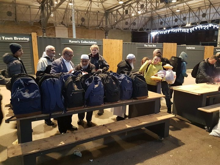 Rucksacks lined up on the Markets Pic: Preston Help The Homeless