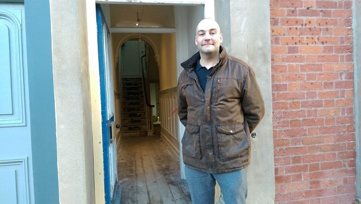 Max Williams at the front door of what will be the Winckley Square Hotel