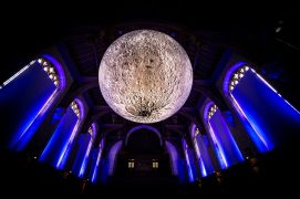 The Museum of the Moon when it was suspended in the University of Bristol Pic: Simon Galloway