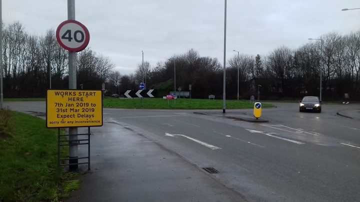 Signs up advising of the Eastway roadworks Pic: Blog Preston