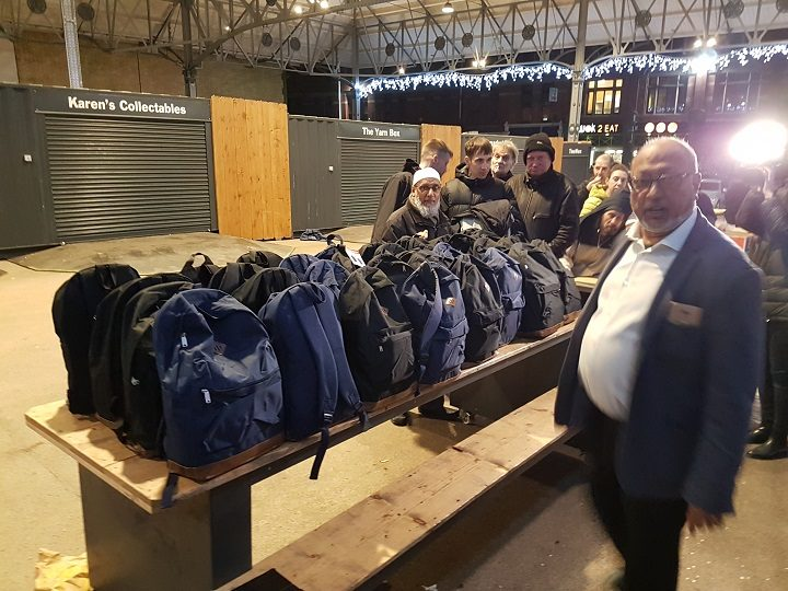 The rucksacks lined up on the Market at Preston Pic: Preston Help The Homeless
